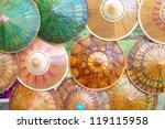 handmade umbrella's for sale in Asia as a souvernir - stock photo