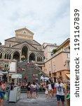 amalfi  italy   august 2  2018  ... | Shutterstock . vector #1191167839