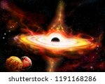 quasar galaxy with black hole...   Shutterstock . vector #1191168286