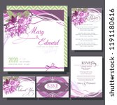 wedding invitation with pink... | Shutterstock .eps vector #1191180616