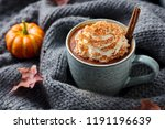 pumpkin latte with spices.... | Shutterstock . vector #1191196639