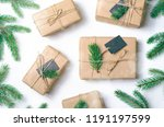 christmas gifts with fir... | Shutterstock . vector #1191197599