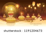 thailand loy krathong festival  ... | Shutterstock .eps vector #1191204673
