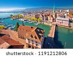 zurich and limmat river... | Shutterstock . vector #1191212806