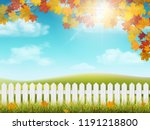 autumn rural landscape with... | Shutterstock .eps vector #1191218800
