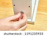 joiner is inserted one nut he... | Shutterstock . vector #1191235933