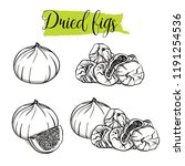 hand drawn sketch style fig set.... | Shutterstock .eps vector #1191254536