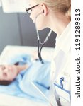 doctor and patient discussing... | Shutterstock . vector #1191289813