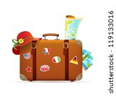 vintage suitcase with stickers | Shutterstock .eps vector #119133016