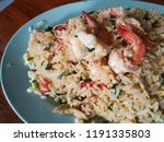 shrimp fired rice on white... | Shutterstock . vector #1191335803