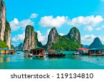 floating village and rock... | Shutterstock . vector #119134810