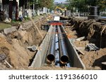 replacement pipes in the city...   Shutterstock . vector #1191366010