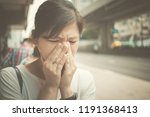 girl feel sick on urban street  ... | Shutterstock . vector #1191368413