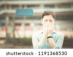 girl feel sick on urban street  ... | Shutterstock . vector #1191368530