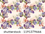 hand drawn watercolor flower... | Shutterstock . vector #1191379666