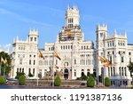plaza de cibeles square and... | Shutterstock . vector #1191387136