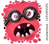 funny  cute crazy monster... | Shutterstock .eps vector #1191393193