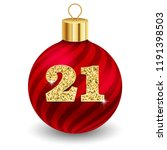 red christmas ball with letter... | Shutterstock .eps vector #1191398503