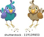 two colored bird on a white... | Shutterstock .eps vector #119139853