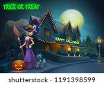 happy halloween background  ... | Shutterstock .eps vector #1191398599