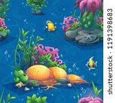 vector texture funny seaworld.... | Shutterstock .eps vector #1191398683
