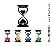 heart shaped hourglass on white ... | Shutterstock .eps vector #1191414103