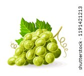 green grape with a leaf on... | Shutterstock .eps vector #1191421213