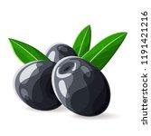 olives black leaves on white.... | Shutterstock .eps vector #1191421216