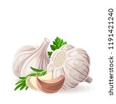 garlic two whole and pieces... | Shutterstock .eps vector #1191421240