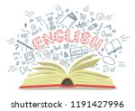 english. open book with... | Shutterstock .eps vector #1191427996