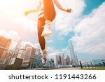 woman runner jumping over the... | Shutterstock . vector #1191443266