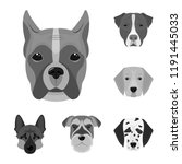 dog breeds monochrome icons in... | Shutterstock . vector #1191445033