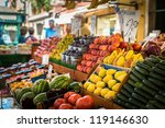 Vegetable Stand At Traditional...