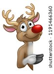 a reindeer christmas red nosed... | Shutterstock .eps vector #1191466360