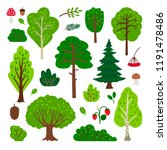 cartoon forest tree set. simple ... | Shutterstock .eps vector #1191478486