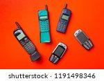 old vintage mobile cell phones... | Shutterstock . vector #1191498346