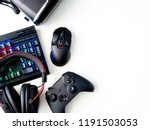 gamer workspace concept  top... | Shutterstock . vector #1191503053