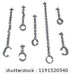 shackles chain hanging set grey ...   Shutterstock . vector #1191520540
