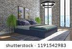 bedroom interior. 3d... | Shutterstock . vector #1191542983
