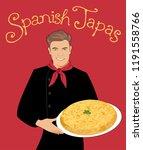 spanish tapas. handsome spanish ... | Shutterstock .eps vector #1191558766
