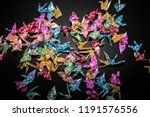 Paper bird and color background ...
