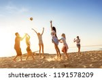 group of happy friends plays... | Shutterstock . vector #1191578209