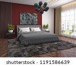 bedroom interior. 3d... | Shutterstock . vector #1191586639