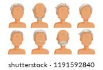 elderly man hair. grey hair set ... | Shutterstock .eps vector #1191592840