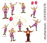 big clown set   Shutterstock .eps vector #1191593170