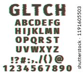 glitch alphabet distorted font... | Shutterstock .eps vector #1191605503