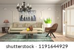 interior of the living room. 3d ... | Shutterstock . vector #1191644929