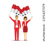 indonesia flag waving man and... | Shutterstock .eps vector #1191657379