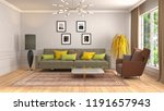 interior of the living room. 3d ... | Shutterstock . vector #1191657943