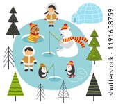 eskimos and arctic animals on... | Shutterstock .eps vector #1191658759